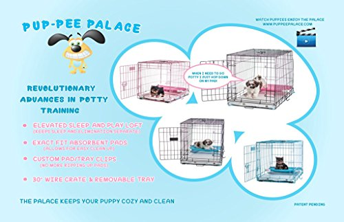 30-Pup-Pee-Palace-Training-Cage-BLACK-Elevated-Loft-BLUE-Tray-Pads-Pad-Clips-0-0