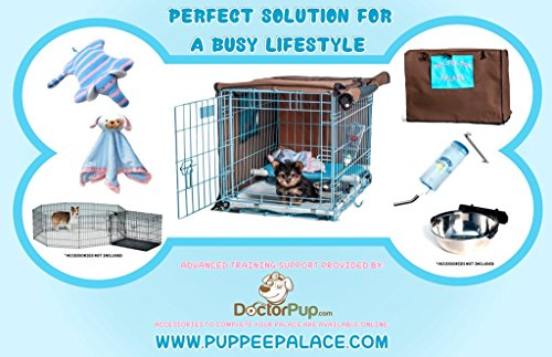 30-Pup-Pee-Palace-Training-Cage-BLACK-Elevated-Loft-BLUE-Tray-Pads-Pad-Clips-0-1