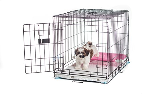 30-Pup-Pee-Palace-Training-Cage-BLACK-Elevated-Loft-PINK-Tray-Pads-Pad-Clips-0