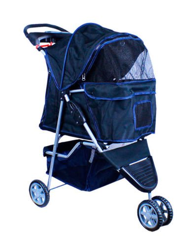 New-Deluxe-Folding-3-Wheel-Pet-Dog-Cat-Stroller-Carrier-w-Cup-Holder-Tray-Black-0