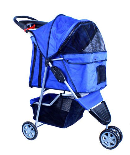 New-Deluxe-Folding-3-Wheel-Pet-Dog-Cat-Stroller-Carrier-w-Cup-Holder-Tray-Blue-0