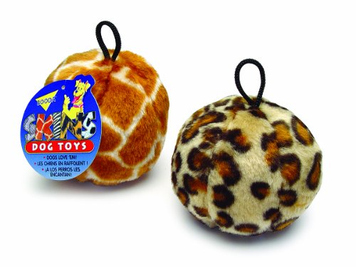 Petmate-Skins-Pattern-Dog-Toy-Ball-Shaped-featuring-a-Leopard-and-Giraffe-pattern-3-pack-Medium-0