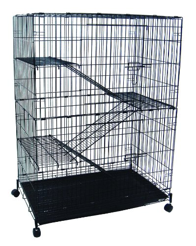YML-4-Level-Small-Animal-Chichilla-Cat-Ferret-Cage-Black-0