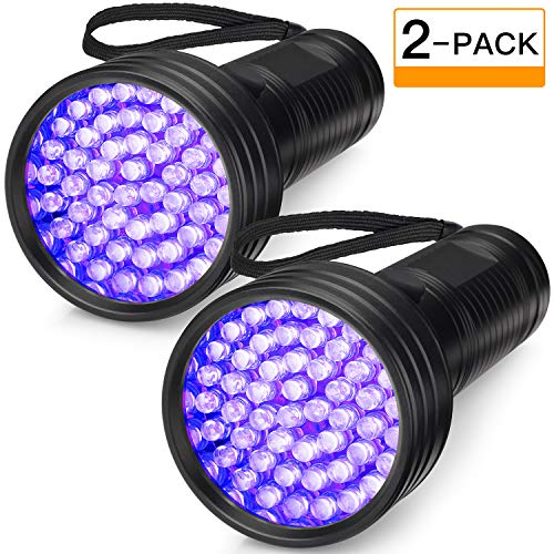 2-Pack-UV-Flashlight-Black-Light-FOLKSMATE-51-LED-390-395-nm-Ultraviolet-Blacklight-Urine-Detector-for-Dogs-Pet-Stains-Bed-Bugs-Scorpions-Portable-for-Travel-Black-Light-0