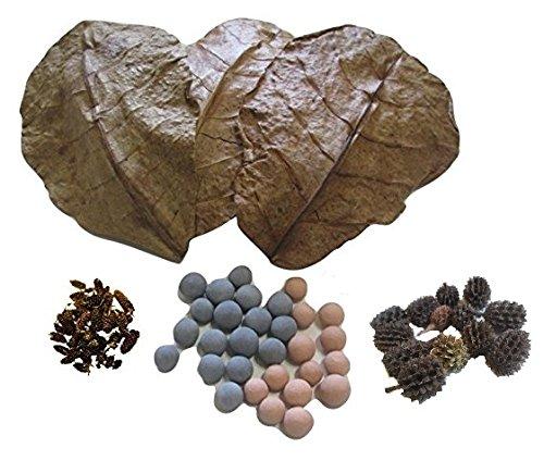 25-Red-Bee-Ball8MM-25-Mineral-Balls-10MM-10-Indian-Almond-Leaves-10-15cm-25-Alder-Cones-25-Filao-Cones-Shrimp-Water-Conditioner-Invertebrates-Aquarium-Betta-Fish-Tank-0