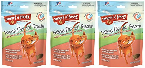 3-Pack-Smart-n-Tasty-Cat-Dental-Grain-Free-Treats-Salmon-3-Ounces-each-0