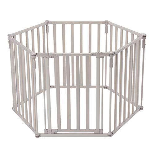 3-in-1-Extra-Wide-Gated-Wood-Superyard-by-North-States-Create-a-Play-Yard-or-an-Extra-Wide-gate-Hardware-Mount-or-freestanding-6-Panel-10-sq-ft-Enclosure-151-Long-30-Tall-Light-Gray-0-0