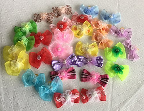 30-Dog-Hair-Bows-2-inch-size-3D-with-Shiffon-Flower-Beads-Excellent-for-Girl-Doggies-handmade-for-Grooming-0-0