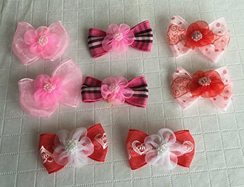 30-Dog-Hair-Bows-2-inch-size-3D-with-Shiffon-Flower-Beads-Excellent-for-Girl-Doggies-handmade-for-Grooming-0-1