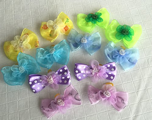 30-Dog-Hair-Bows-2-inch-size-3D-with-Shiffon-Flower-Beads-Excellent-for-Girl-Doggies-handmade-for-Grooming-0-2