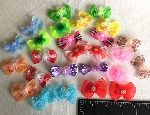 30-Dog-Hair-Bows-2-inch-size-3D-with-Shiffon-Flower-Beads-Excellent-for-Girl-Doggies-handmade-for-Grooming-0