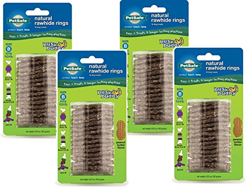 4-Pack-PetSafe-Busy-Buddy-Refill-Ring-Dog-Treats-for-select-Busy-Buddy-Dog-Toys-Peanut-Butter-Flavored-Natural-Rawhide-Size-B-0