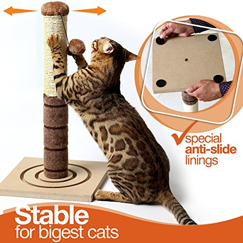 4-Paws-Stuff-Tall-Cat-Scratching-Post-Cat-Interactive-Toys-Cat-Scratch-Post-Cats-Kittens-Plush-Sisal-Scratch-Pole-Cat-Scratcher-22-inches-Beige-0-0