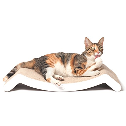 4CLAWS-Scratching-Lounge-Bed-White-Basics-Collection-Cat-Scratcher-0-0