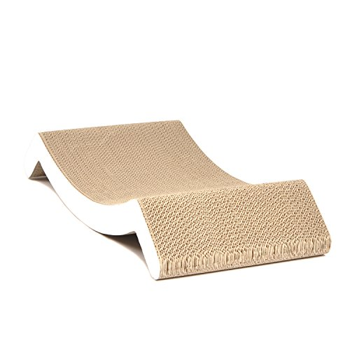 4CLAWS-Scratching-Lounge-Bed-White-Basics-Collection-Cat-Scratcher-0-2
