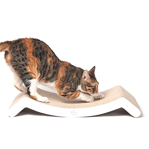 4CLAWS-Scratching-Lounge-Bed-White-Basics-Collection-Cat-Scratcher-0
