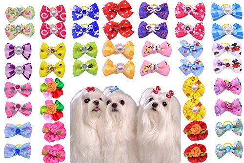 50pcspack-Cute-New-Dog-Hair-Bows-Pairs-Rhinestone-Pearls-Flowers-Topknot-Mix-Styles-Dog-Bows-Pet-Grooming-Products-Mix-Colors-Pet-Hair-Bows-Topknot-Rubber-Bands-0-2