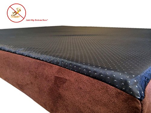 55x47x4-Chocolate-Brown-Anti-Slip-Washable-Microfiber-Suede-Waterproof-Orthopedic-True-Solid-High-Density-Memory-Foam-Therapeutic-Pad-Pet-Super-Big-Dog-Bed-Crate-FREE-2nd-External-Washable-Cover-0-0