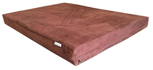 55x47x4-Chocolate-Brown-Anti-Slip-Washable-Microfiber-Suede-Waterproof-Orthopedic-True-Solid-High-Density-Memory-Foam-Therapeutic-Pad-Pet-Super-Big-Dog-Bed-Crate-FREE-2nd-External-Washable-Cover-0-1