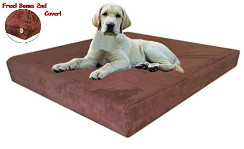 55x47x4-Chocolate-Brown-Anti-Slip-Washable-Microfiber-Suede-Waterproof-Orthopedic-True-Solid-High-Density-Memory-Foam-Therapeutic-Pad-Pet-Super-Big-Dog-Bed-Crate-FREE-2nd-External-Washable-Cover-0
