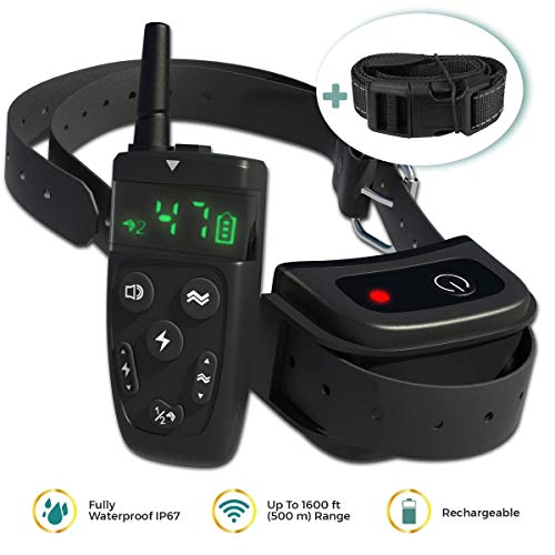 All-New-2019-Dog-Training-Collar-with-Remote-Long-Range-1600-Shock-Vibration-Control-Rechargeable-Ipx7-Waterproof-E-Collar-Shock-Collar-for-Dogs-Small-Medium-Large-Size-All-Breeds-0