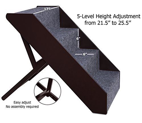 Arf-Pets-Wood-Dog-Stairs-4-Levels-Height-Adjustment-Wide-Pet-Steps-Foldable-0-0