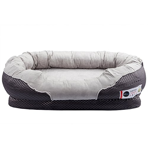 BarksBar-Gray-Orthopedic-Dog-Bed-Snuggly-Sleeper-with-Grooved-Orthopedic-Foam-Extra-Comfy-Cotton-Padded-Rim-Cushion-and-Nonslip-Bottom-0-0