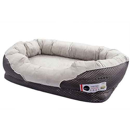 BarksBar-Gray-Orthopedic-Dog-Bed-Snuggly-Sleeper-with-Grooved-Orthopedic-Foam-Extra-Comfy-Cotton-Padded-Rim-Cushion-and-Nonslip-Bottom-0-1