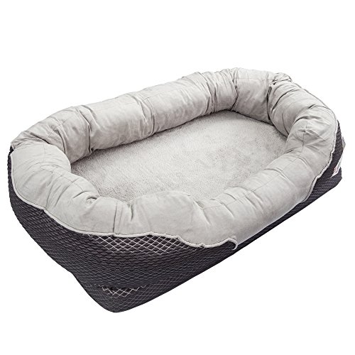 BarksBar-Gray-Orthopedic-Dog-Bed-Snuggly-Sleeper-with-Grooved-Orthopedic-Foam-Extra-Comfy-Cotton-Padded-Rim-Cushion-and-Nonslip-Bottom-0-2
