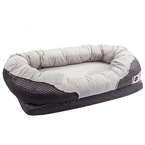 BarksBar-Gray-Orthopedic-Dog-Bed-Snuggly-Sleeper-with-Grooved-Orthopedic-Foam-Extra-Comfy-Cotton-Padded-Rim-Cushion-and-Nonslip-Bottom-0