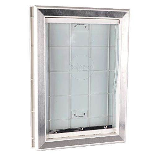 BarksBar-Original-Plastic-Dog-Door-with-Aluminum-Lining-White-Soft-Flap-2-Way-Locking-Sliding-Panel-and-Telescoping-Frame-0-0