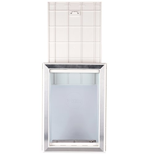BarksBar-Original-Plastic-Dog-Door-with-Aluminum-Lining-White-Soft-Flap-2-Way-Locking-Sliding-Panel-and-Telescoping-Frame-0-1