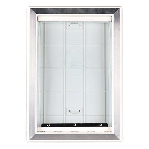 BarksBar-Original-Plastic-Dog-Door-with-Aluminum-Lining-White-Soft-Flap-2-Way-Locking-Sliding-Panel-and-Telescoping-Frame-0