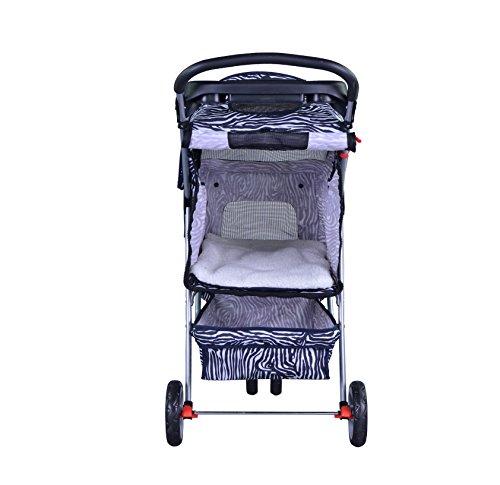 BestPet-Pet-Stroller-Cat-Dog-3-Wheel-Walk-Travel-Folding-Carrier-WRain-Cover-Zebra-0-0