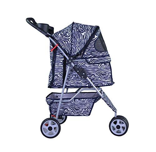 BestPet-Pet-Stroller-Cat-Dog-3-Wheel-Walk-Travel-Folding-Carrier-WRain-Cover-Zebra-0-1