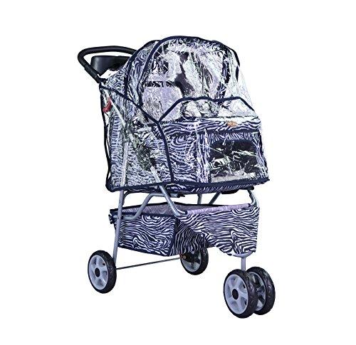 BestPet-Pet-Stroller-Cat-Dog-3-Wheel-Walk-Travel-Folding-Carrier-WRain-Cover-Zebra-0-2