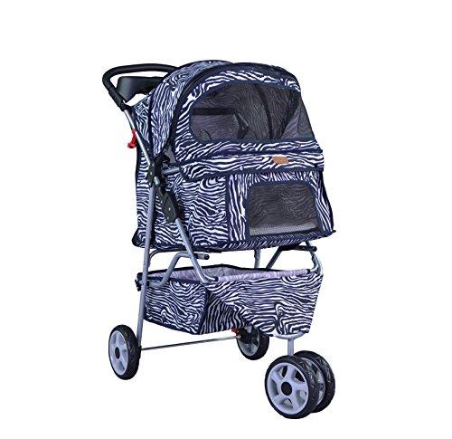 BestPet-Pet-Stroller-Cat-Dog-3-Wheel-Walk-Travel-Folding-Carrier-WRain-Cover-Zebra-0