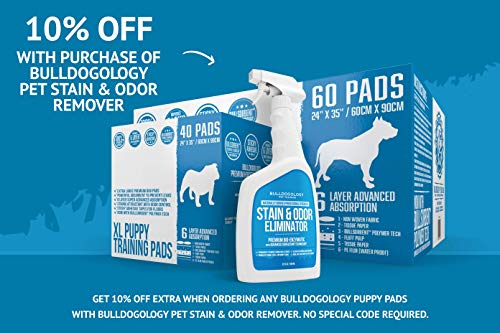 Bulldogology-Puppy-Pee-Pads-XL-with-Adhesive-Sticky-Tape-Extra-Large-Dog-Training-Wee-Pads-24×35-6-Layers-with-Extra-Quick-Dry-Bullsorbent-Polymer-Tech-0-2
