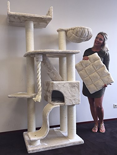 Cat-Tree-for-Large-Cats–Cat-Mansion-Beige–71-inch-108-lbs-5-inch–poles–Total-size-71x29x23-inch–Cat-Scratcher-scratching-post-activity-center-Cat-Trees-for-large-cats-Quality-product-from-C-0-0