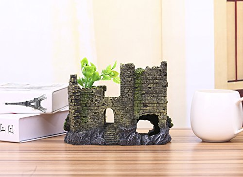 Charmly-Castle-Aquarium-Ornament-Fish-Tank-Decoration-Hand-Painted-With-Realistic-Details-with-Moss-and-Aquatic-Plants-Cover-approx-8-L-6-H-0-0