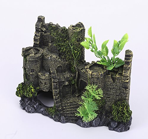 Charmly-Castle-Aquarium-Ornament-Fish-Tank-Decoration-Hand-Painted-With-Realistic-Details-with-Moss-and-Aquatic-Plants-Cover-approx-8-L-6-H-0-1