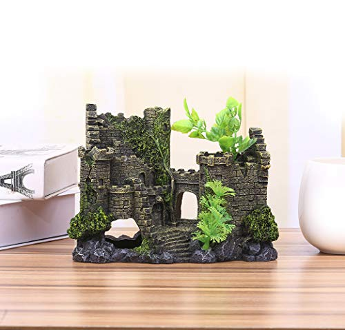 Charmly-Castle-Aquarium-Ornament-Fish-Tank-Decoration-Hand-Painted-With-Realistic-Details-with-Moss-and-Aquatic-Plants-Cover-approx-8-L-6-H-0
