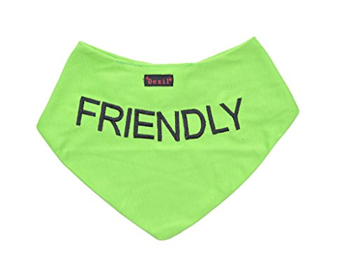 Dexil-Friendly-Green-Dog-Bandana-Quality-Personalised-Embroidered-Message-Neck-Scarf-Fashion-Accessory-Prevents-Accidents-by-Warning-Others-of-Your-Dog-in-Advance-0