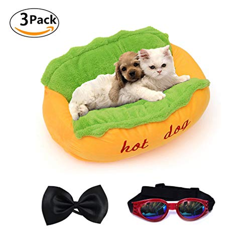 Dog-Bed-Hot-Dog-Design-Removable-and-Washable-Dog-Sofa-Dog-Mat-for-Small-Animals-with-Bow-Tie-and-Sunglasses-0