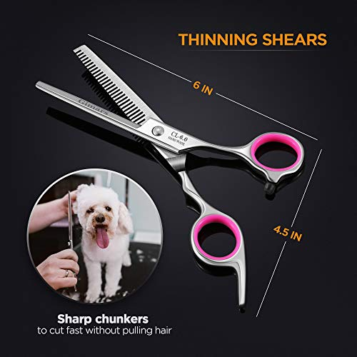 Dog-Grooming-Scissors-Gimars-Heavy-Duty-Titanium-Coated-Stainless-Steel-Pet-Grooming-Trimmer-Kit-Perfect-Thinning-Straight-Curved-Shears-with-Comb-for-Long-Short-Hair-Fur-for-Cat-and-More-Pets-0-0