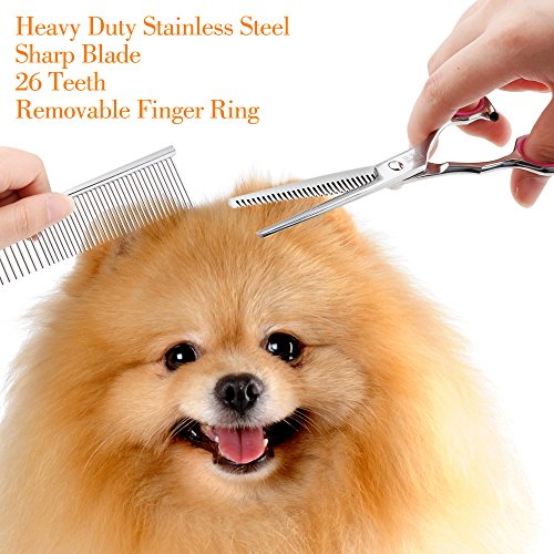 Dog-Grooming-Scissors-Gimars-Heavy-Duty-Titanium-Coated-Stainless-Steel-Pet-Grooming-Trimmer-Kit-Perfect-Thinning-Straight-Curved-Shears-with-Comb-for-Long-Short-Hair-Fur-for-Cat-and-More-Pets-0-2