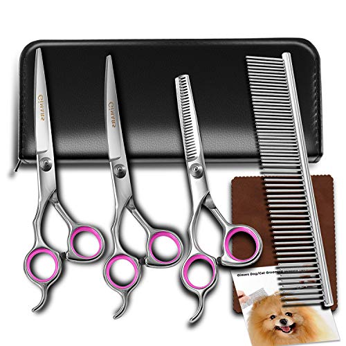 Dog-Grooming-Scissors-Gimars-Heavy-Duty-Titanium-Coated-Stainless-Steel-Pet-Grooming-Trimmer-Kit-Perfect-Thinning-Straight-Curved-Shears-with-Comb-for-Long-Short-Hair-Fur-for-Cat-and-More-Pets-0