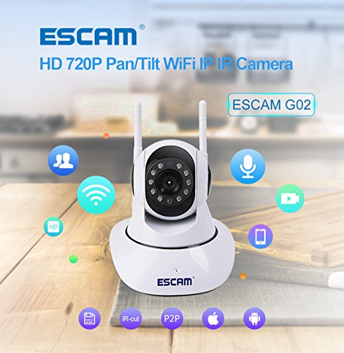 ESCAM-IP-Camera-Wireless-Security-Camera-Surveillance-System-HD-720P-with-Night-Vision-PanTilt-Two-Way-Audio-Remote-View-Indoor-Camera-with-iOS-Android-APP-Support-128G-TF-Card-0-1