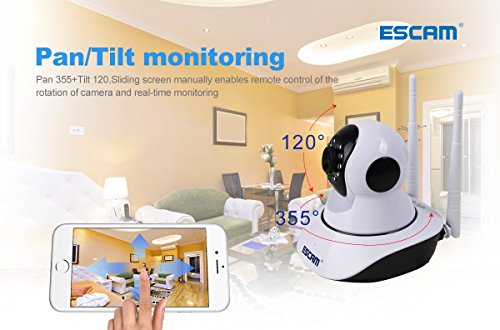 ESCAM-IP-Camera-Wireless-Security-Camera-Surveillance-System-HD-720P-with-Night-Vision-PanTilt-Two-Way-Audio-Remote-View-Indoor-Camera-with-iOS-Android-APP-Support-128G-TF-Card-0-2