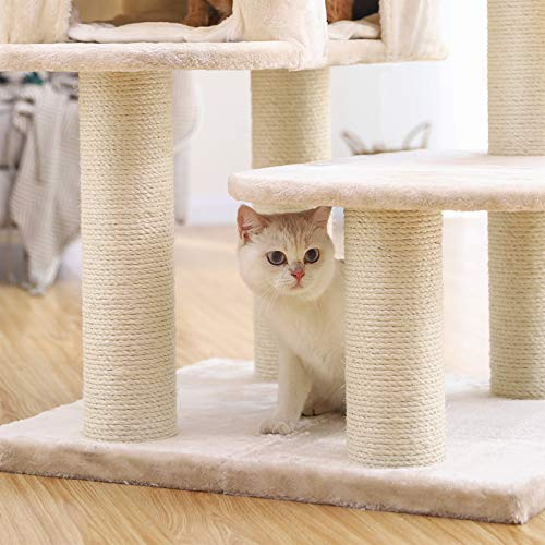 FEANDREA-Cat-Tree-Cat-Tower-with-XXL-Plush-Perch-Basket-Lounger-Cat-Condo-with-Adjustable-Units-Cat-Toys-Extra-Thick-Posts-Completely-Wrapped-in-Sisal-0-0